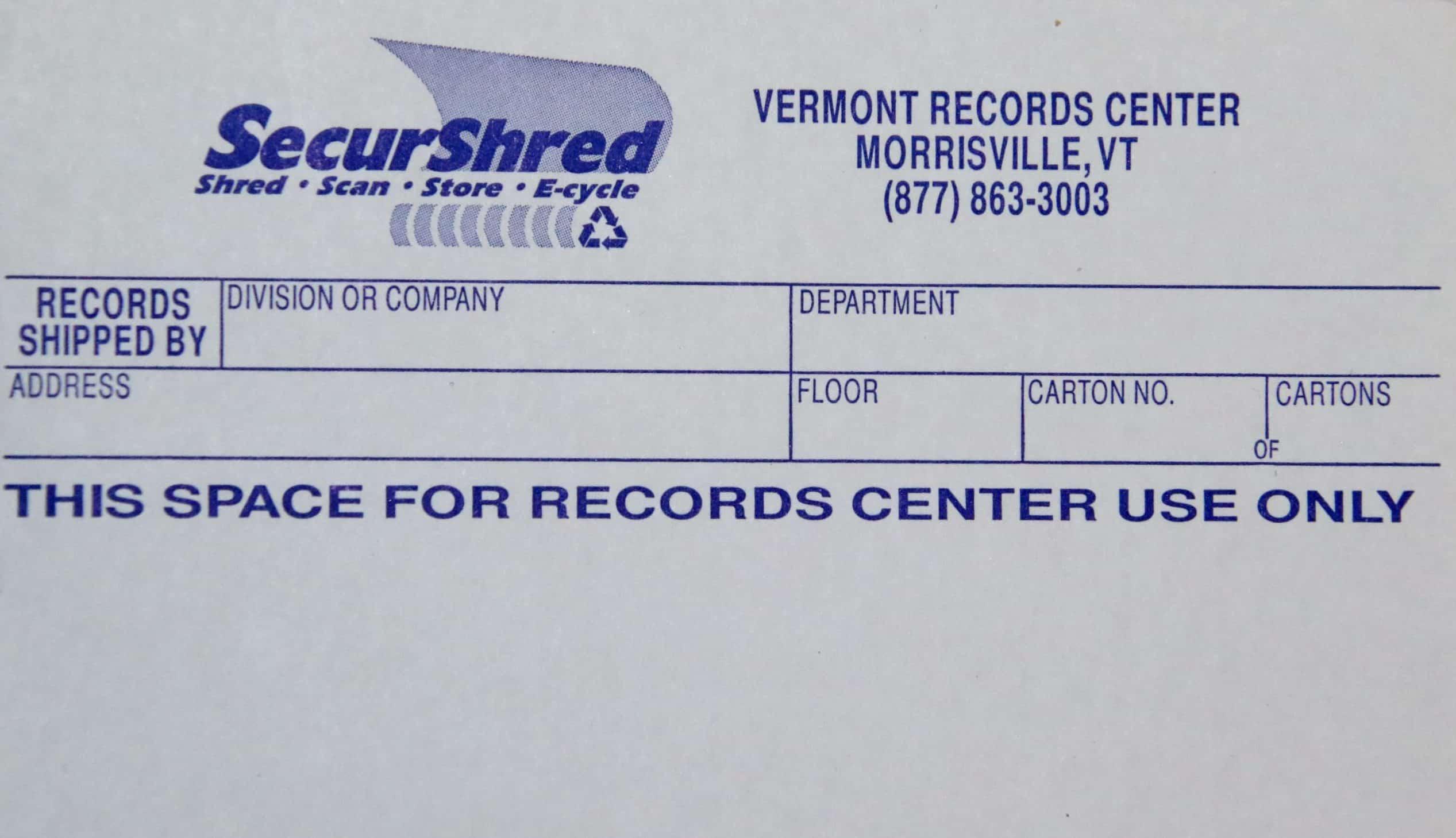 VRCA box label